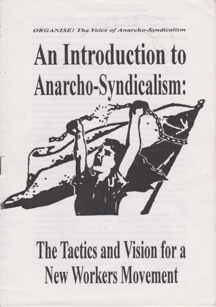 Front cover of the first Organise! pamphlet published July 1996.